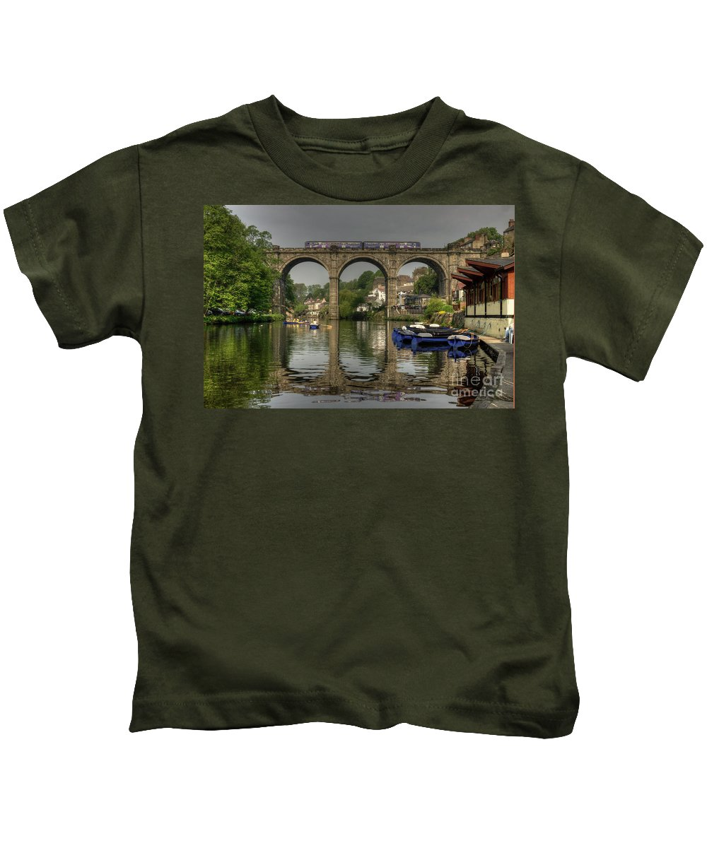 Knaresborough Kids T-Shirt featuring the photograph Knaresborough Viaduct by Rob Hawkins