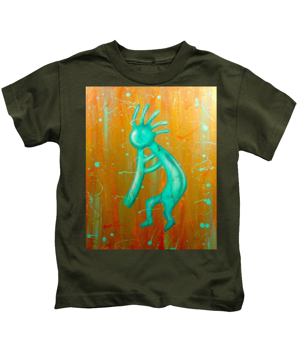 Native American Kids T-Shirt featuring the painting Kokopelli by Persengulo Fedelino