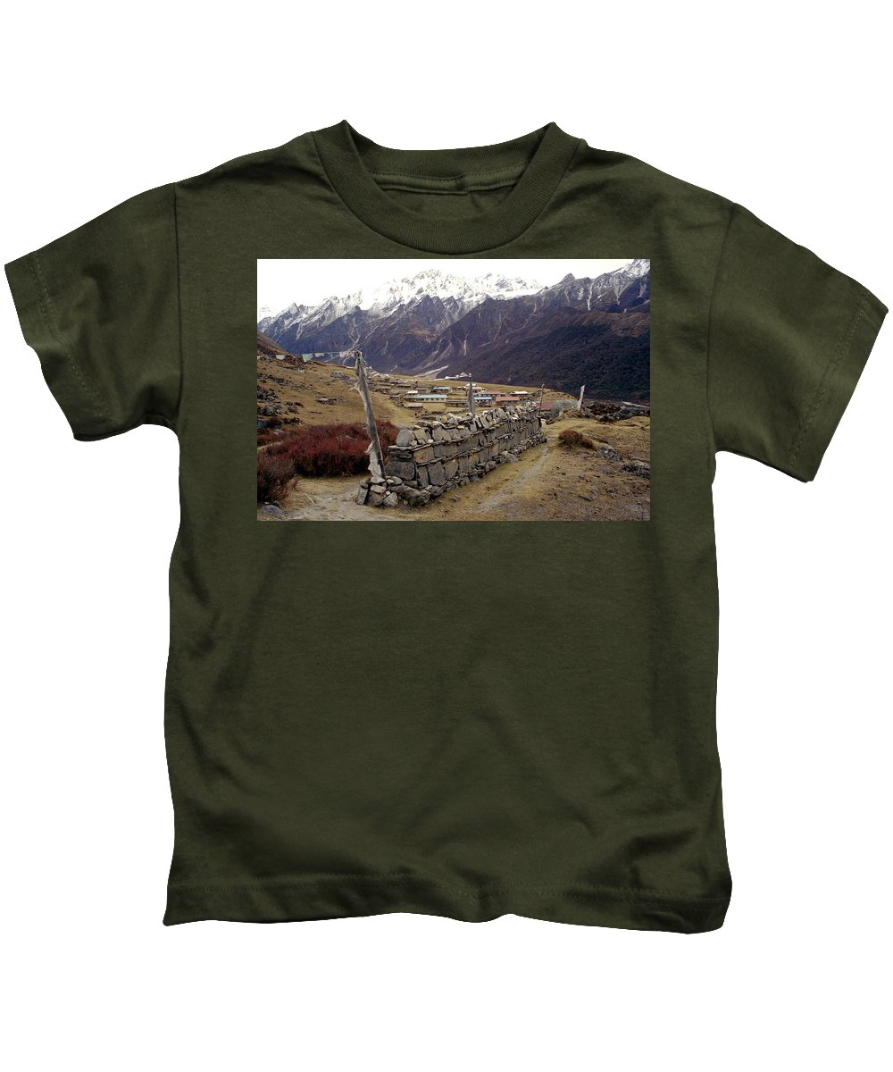 Langtang Kids T-Shirt featuring the photograph Kyanjin Gompa by Patrick Klauss