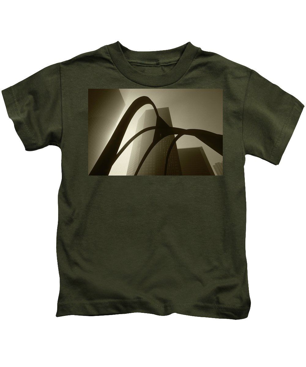 Abstract Kids T-Shirt featuring the photograph La Abstract Bw by Steve Williams
