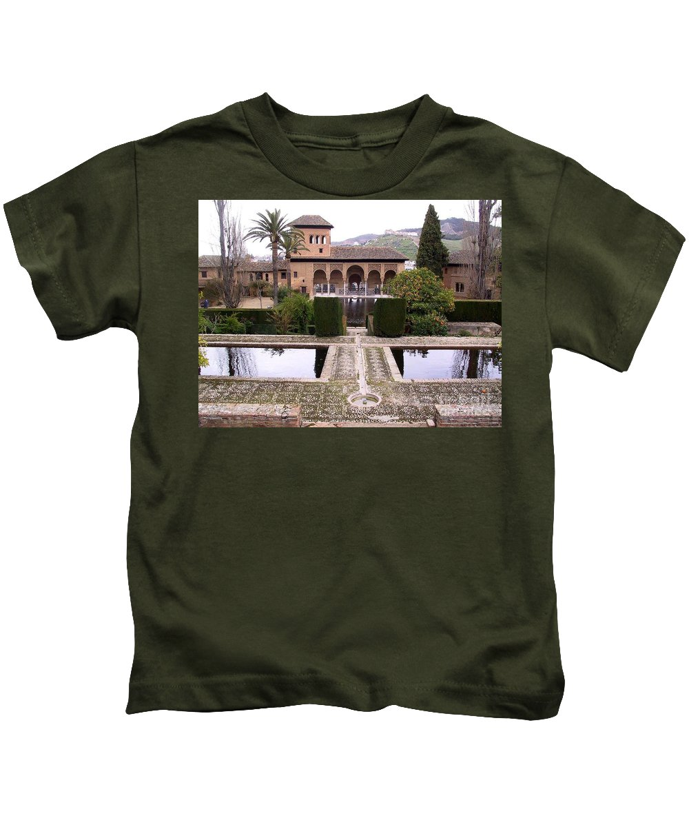 Alhambra Kids T-Shirt featuring the photograph La Alhambra Garden by Thomas Marchessault