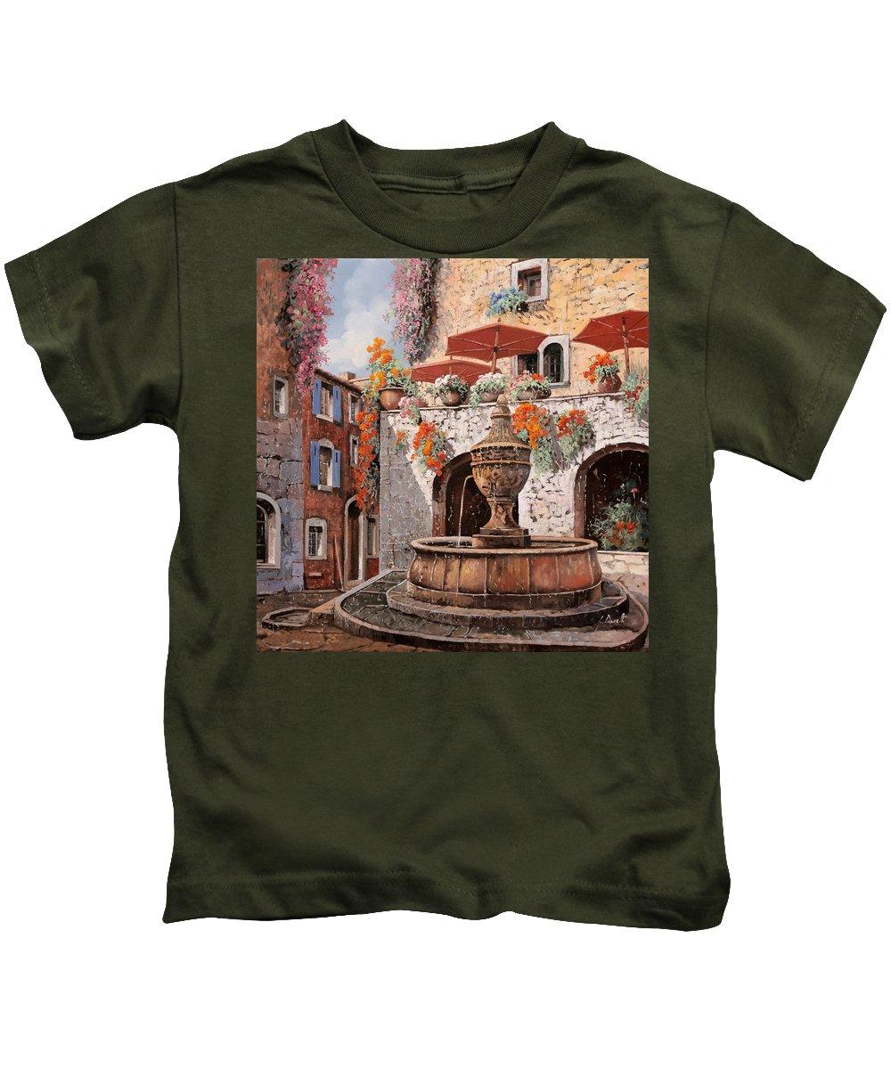 St Paul Kids T-Shirt featuring the painting la fontana a St Paul de Vence by Guido Borelli