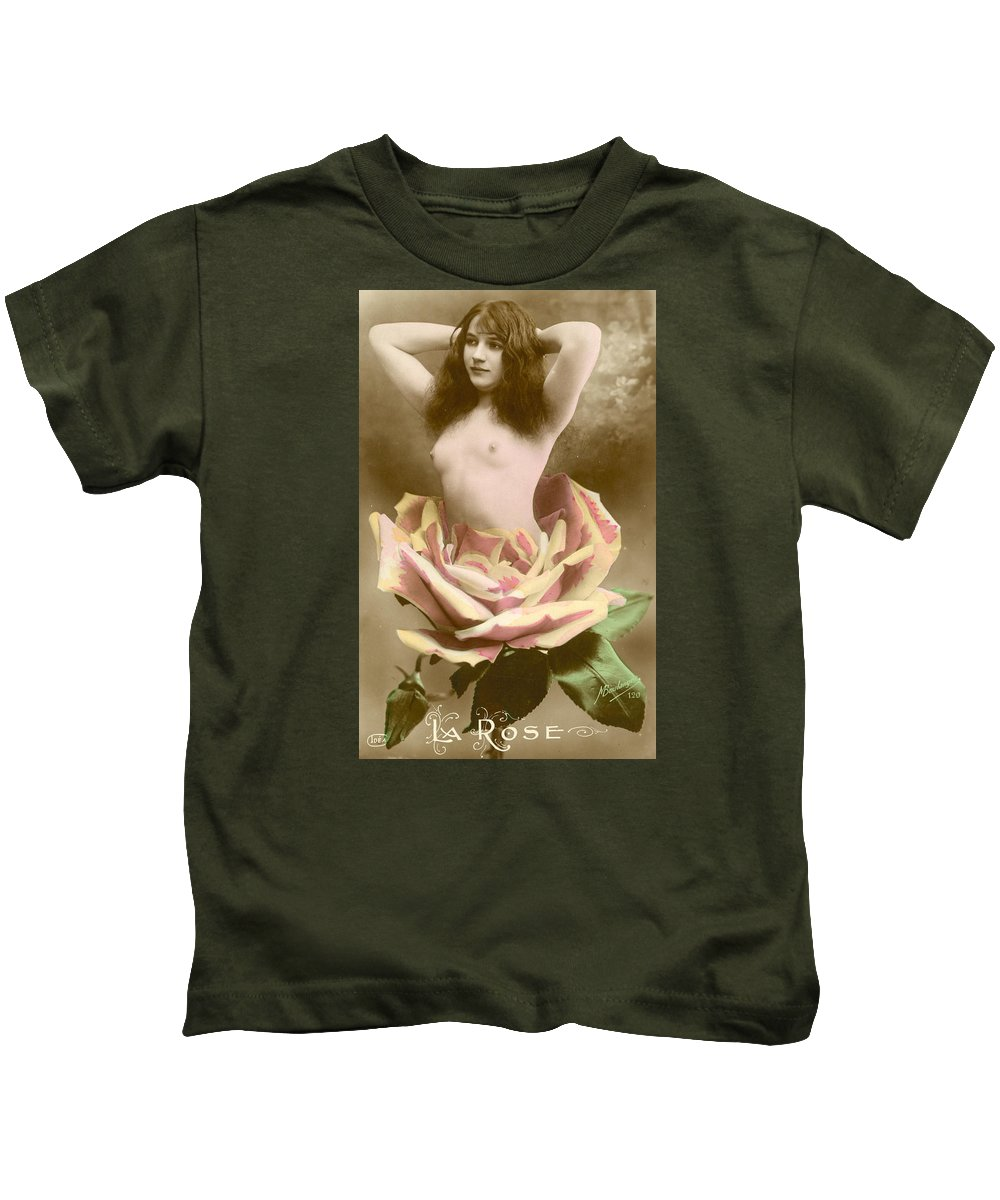 Postcard Kids T-Shirt featuring the photograph La Rose by French School