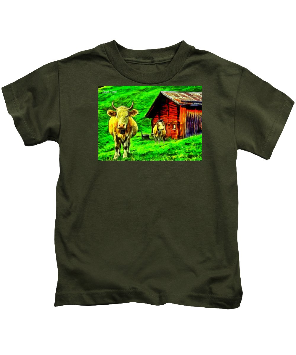 Animal Kids T-Shirt featuring the painting La Vaca by Leonardo Digenio