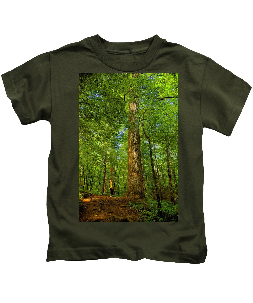 Forest Kids T-Shirt featuring the painting Lady And The Tree by David Lee Thompson