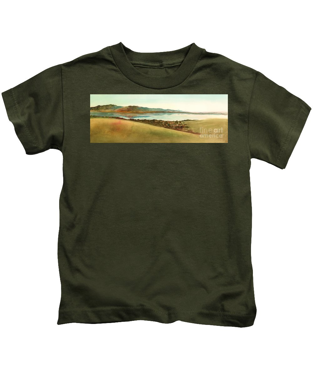 Sardinia Kids T-Shirt featuring the painting Lago Del Coghinas by Amy Kirkpatrick