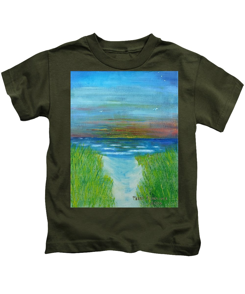 Lake Michigan Kids T-Shirt featuring the painting Lake Michigan Sunrise 02132016 by Terry Jenkins