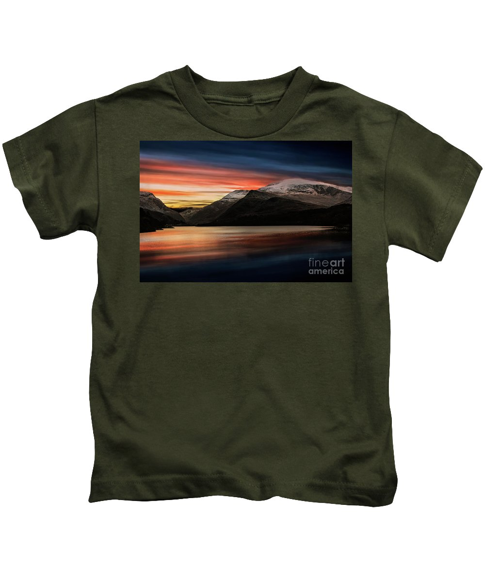 Sunset Kids T-Shirt featuring the photograph Lake Sunset Snowdonia by Adrian Evans