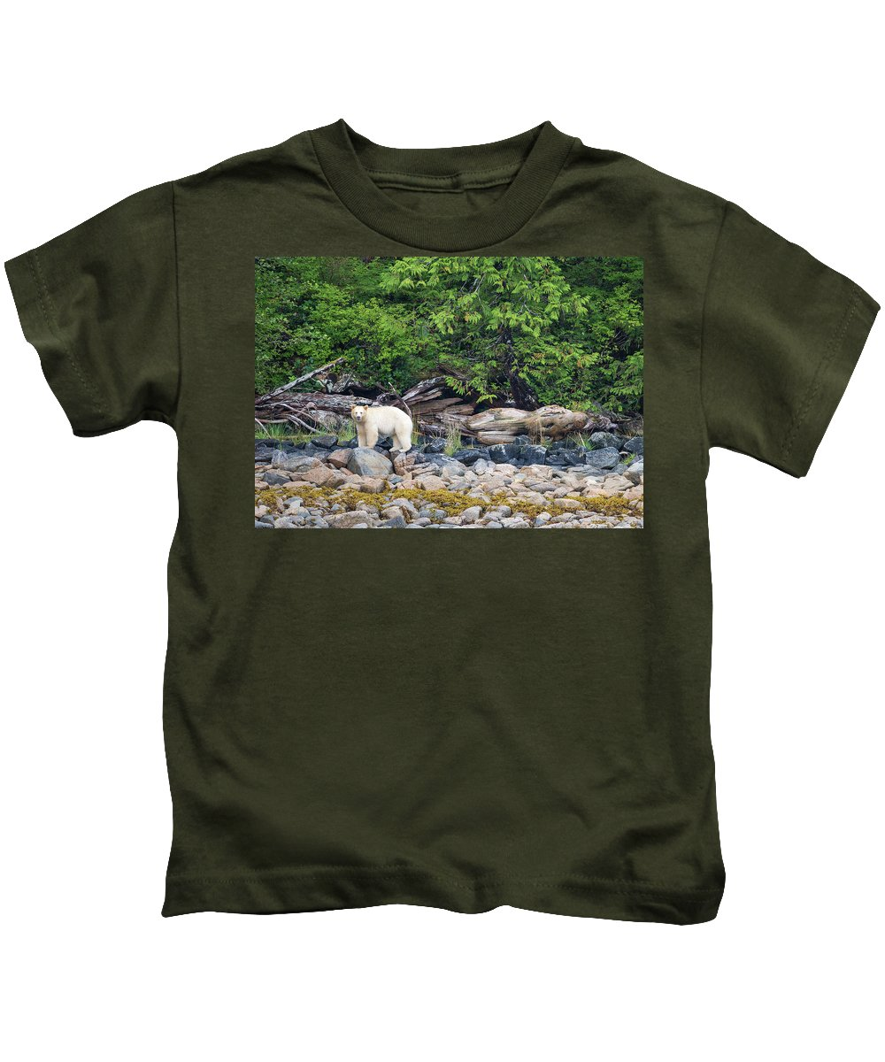Spirit Bear Kids T-Shirt featuring the photograph Land Of The Spirit Bear by Max Waugh