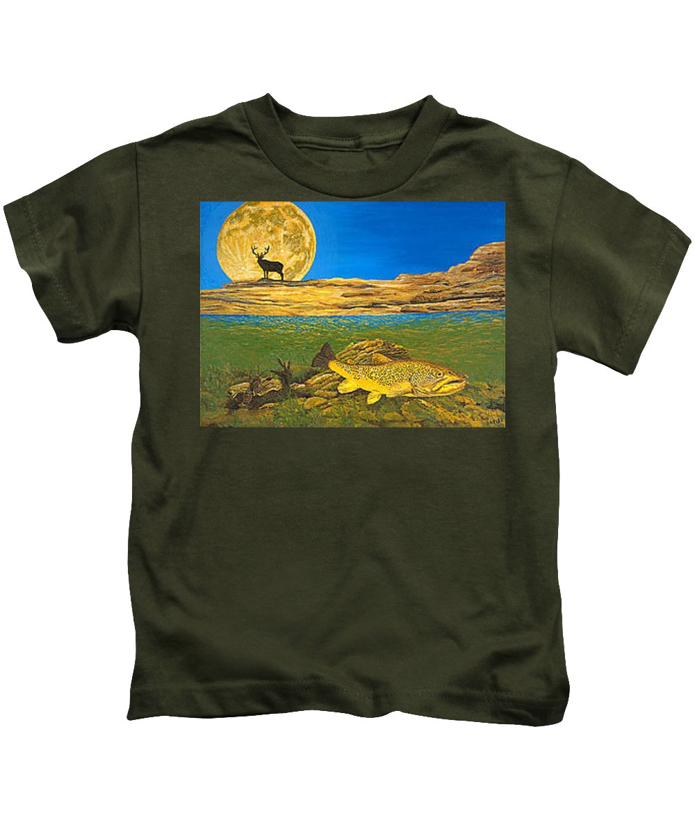 Artwork Kids T-Shirt featuring the painting Landscape Art Fish Art Brown Trout Timing Bull Elk Full Moon Nature Contemporary Modern Decor by Baslee Troutman