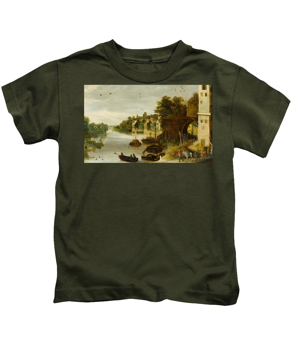 Philippe De Momper (antwerp 1598 - Antwerp 1634) Kids T-Shirt featuring the painting Landscape By A Riverside Town by Philippe de Momper