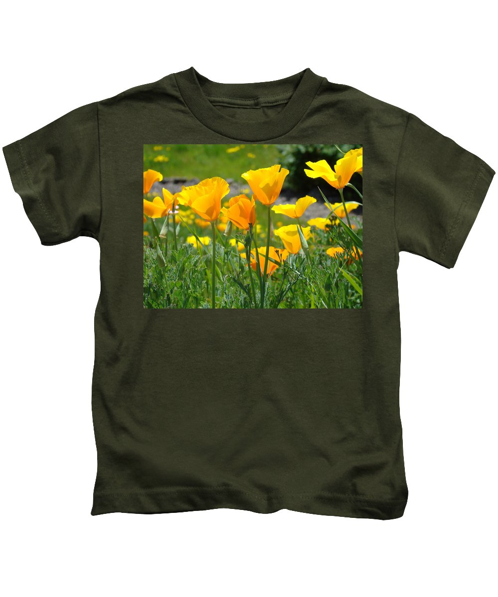 �poppies Artwork� Kids T-Shirt featuring the photograph Landscape Poppy Flowers 5 Orange Poppies Hillside Meadow Art by Baslee Troutman