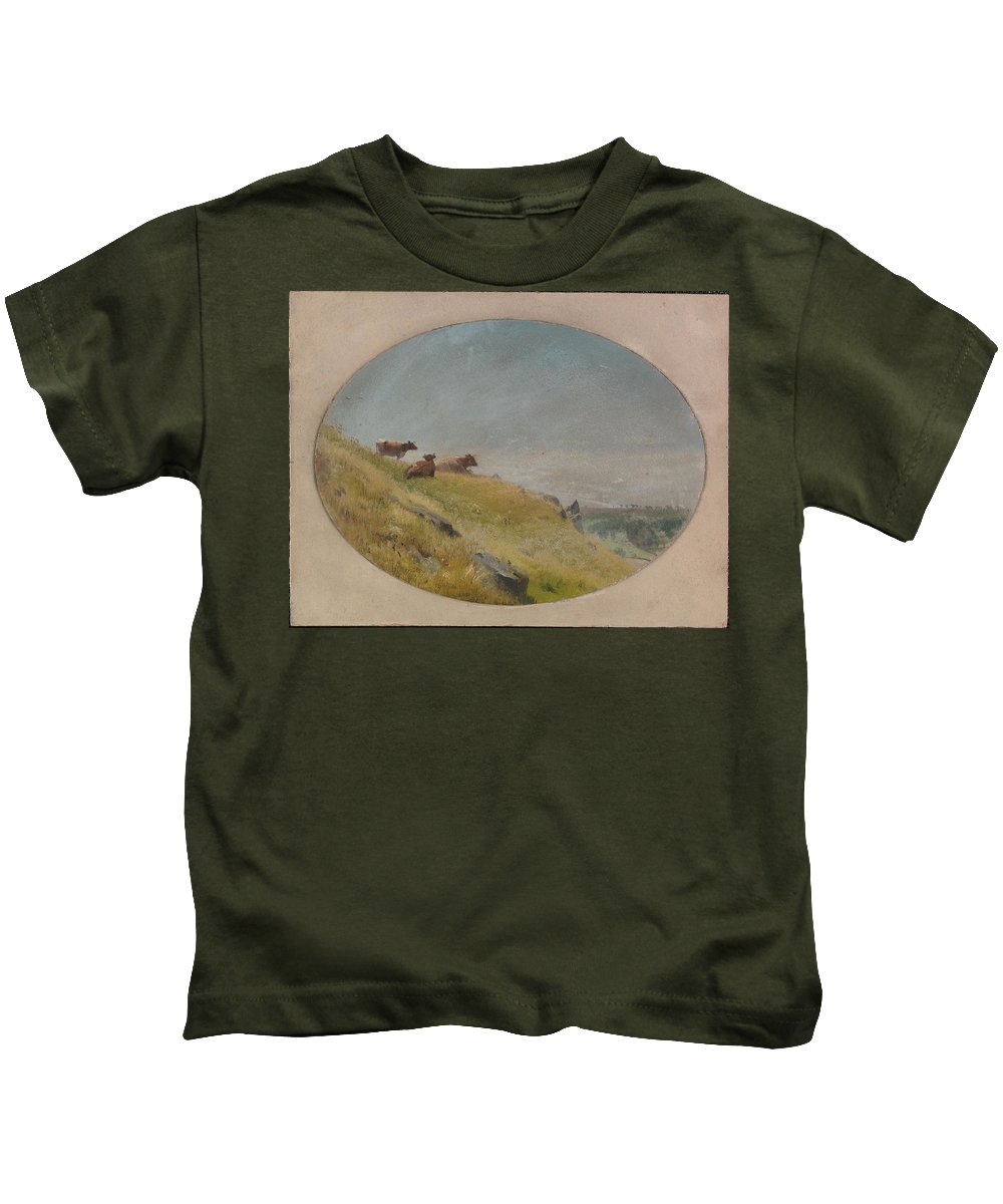 Landscape With Cows Kids T-Shirt featuring the painting Landscape With Cows by MotionAge Designs