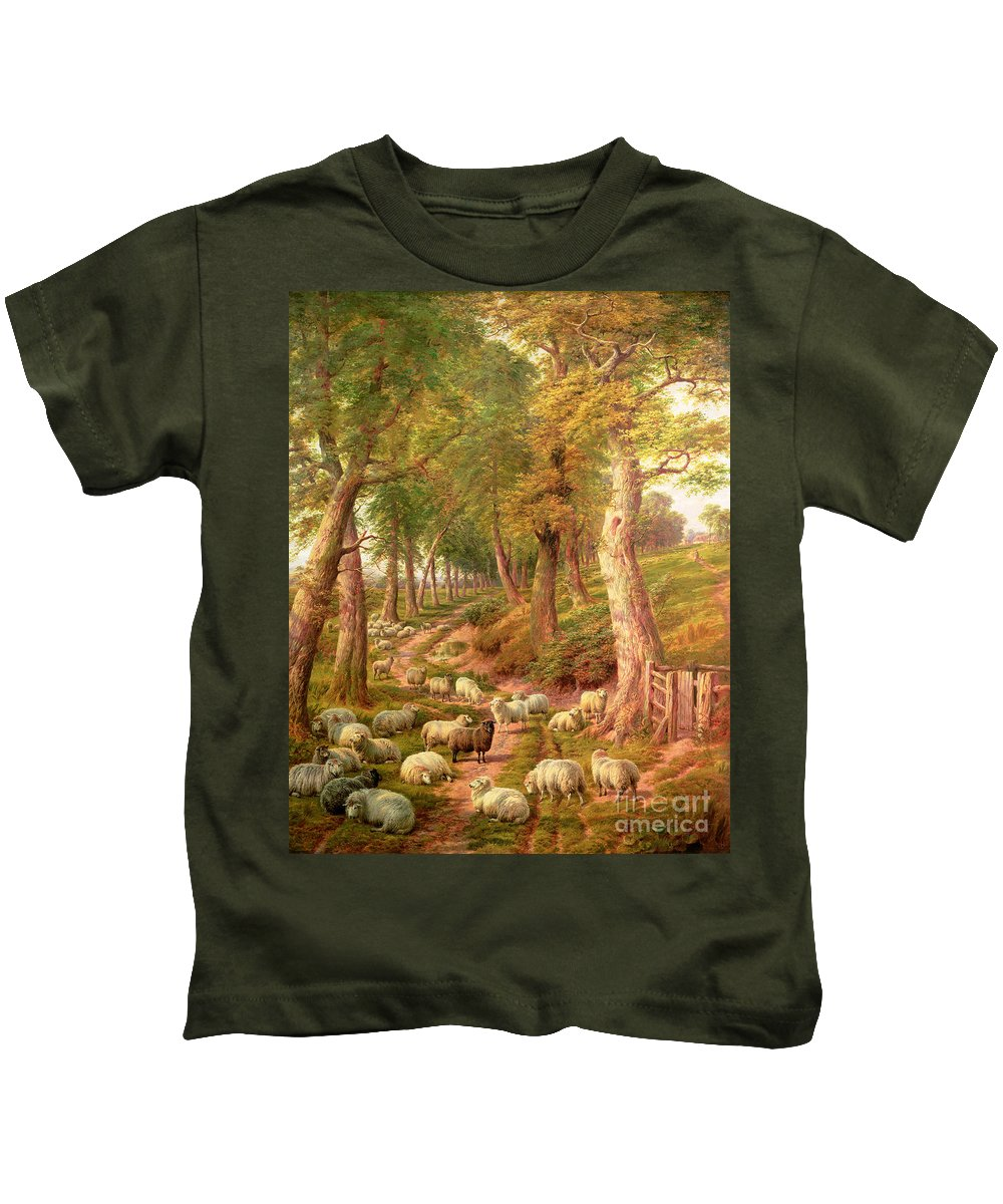 Landscapes Kids T-Shirt featuring the painting Landscape With Sheep by Charles Joseph