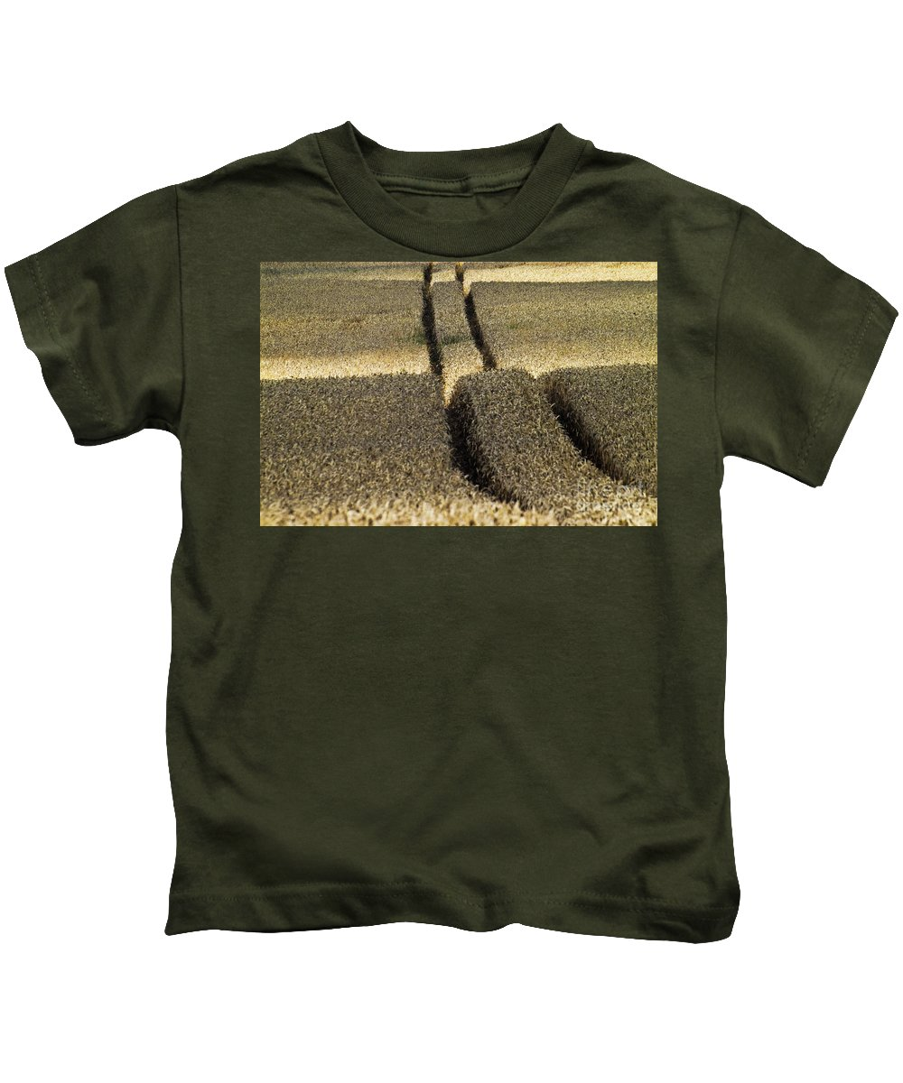 Europe Kids T-Shirt featuring the photograph Lanes On Cornfield by Heiko Koehrer-Wagner