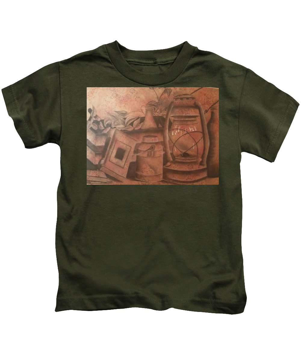 Lantern Still Life Kids T-Shirt featuring the drawing Lantern by Alexius Brown