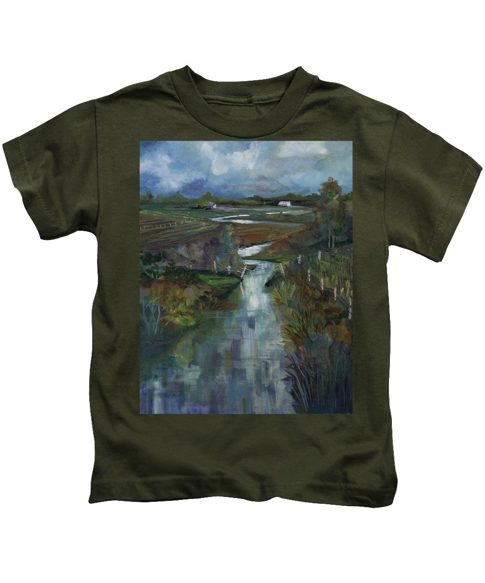 River Kids T-Shirt featuring the painting Laramie River Valley by Heather Coen