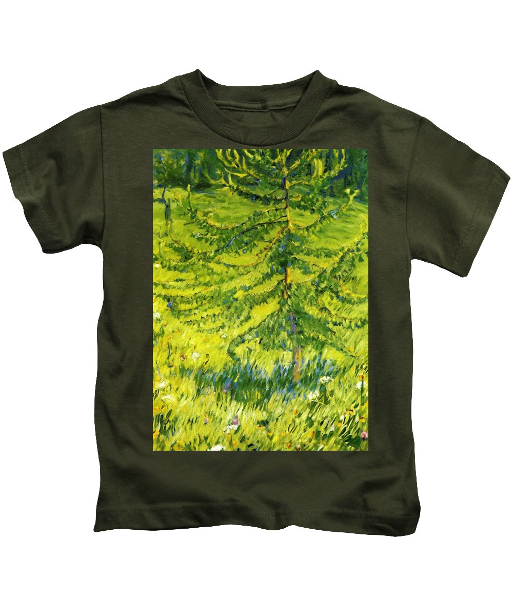 Larch Kids T-Shirt featuring the painting Larch Sapling 1908 by Marc Franz