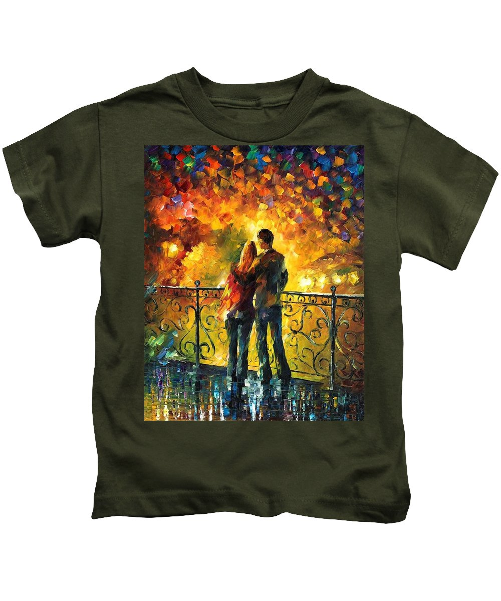Afremov Kids T-Shirt featuring the painting Last Date by Leonid Afremov