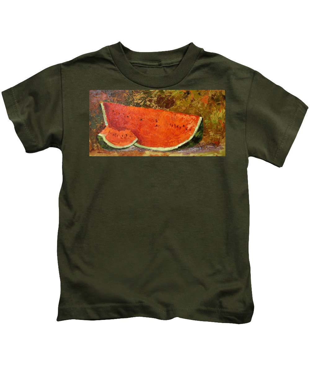Watermelon Kids T-Shirt featuring the painting Last Of Summer by Ginger Concepcion