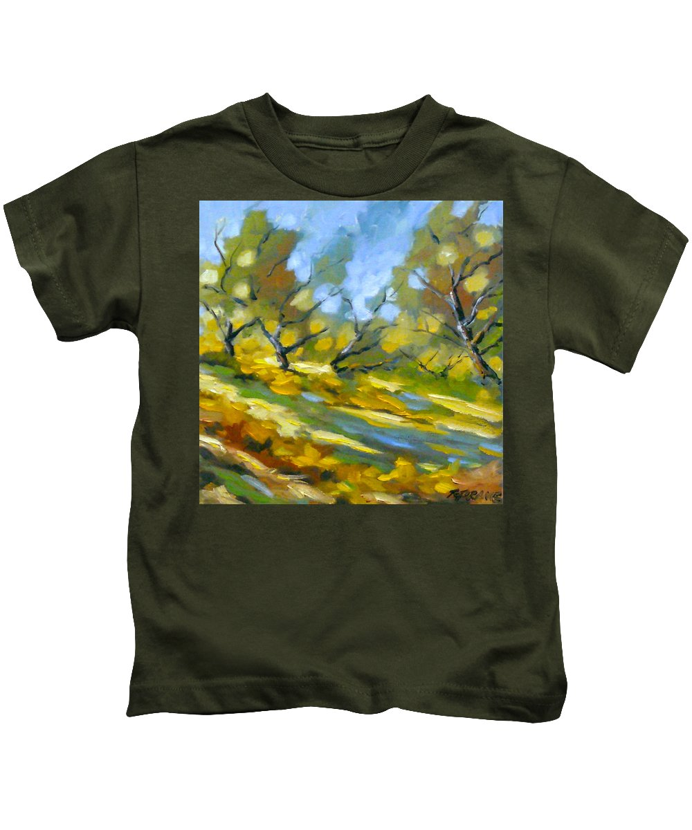 Original Painting; Oil; Landscape; Birches; Trees; Nature; Richard T Pranke; Lake Kids T-Shirt featuring the painting Late Afternoon by Richard T Pranke