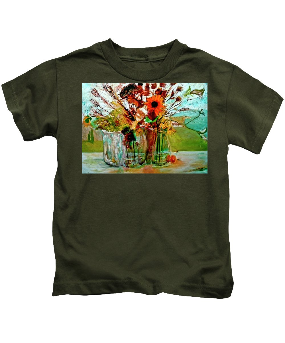 Flowers Jar Glass Thistle Picnic Green Lemon Rose Kids T-Shirt featuring the painting Late Summer by Jack Diamond