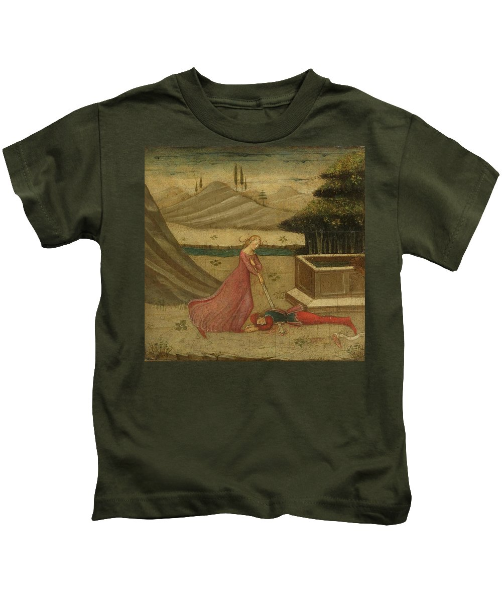 Florence Kids T-Shirt featuring the painting Lateral Panel From A Cassone by MotionAge Designs