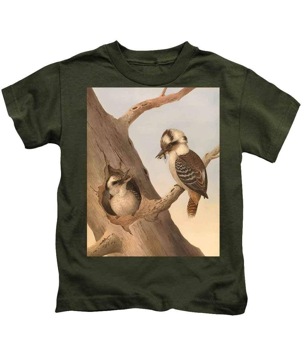 Painting Kids T-Shirt featuring the painting Laughing Kookaburra by Mountain Dreams
