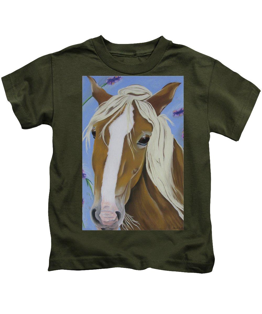 Horse Kids T-Shirt featuring the pastel Lavender Horse by Michelle Hayden-Marsan