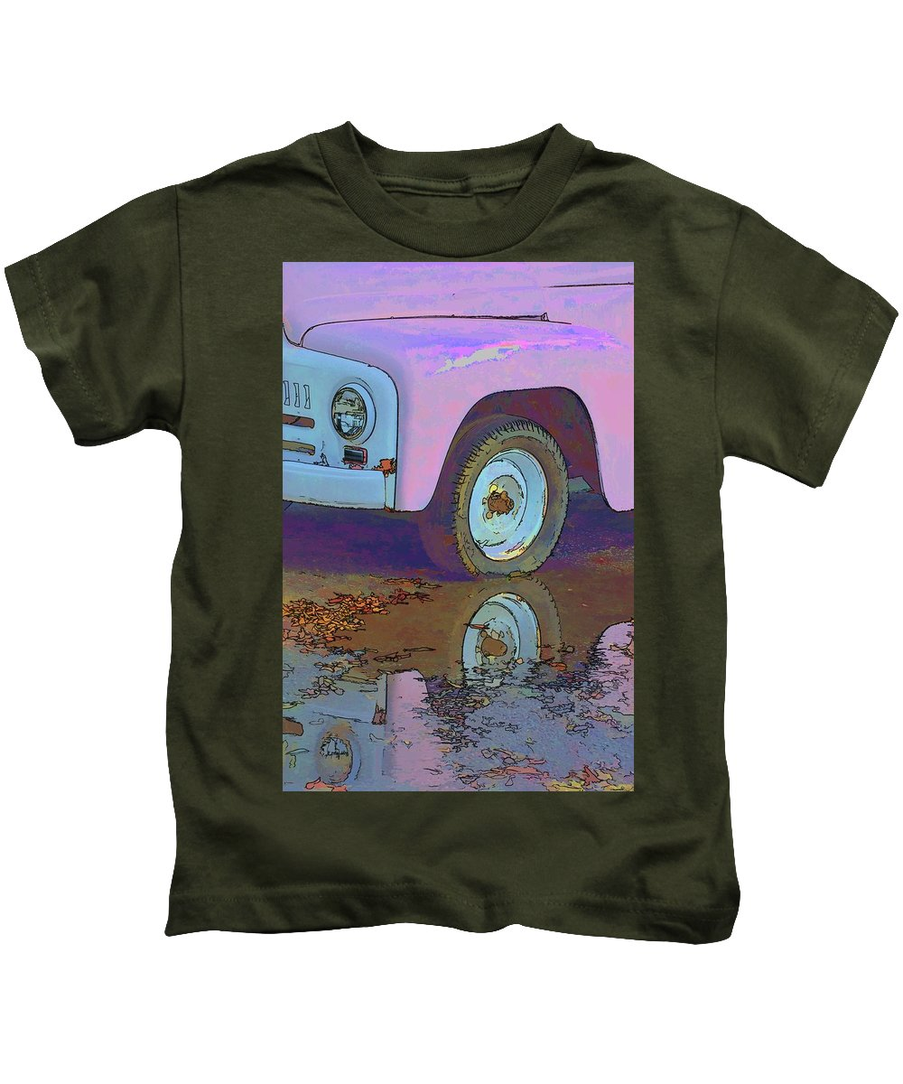 Vehicles Kids T-Shirt featuring the photograph Lavender Reflections by Jan Amiss Photography