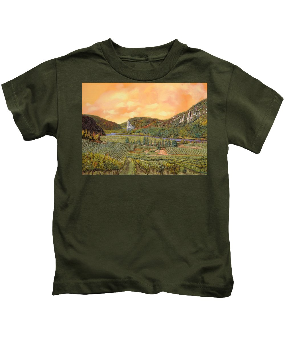 Vineyard Kids T-Shirt featuring the painting Le Vigne Nel 2010 by Guido Borelli