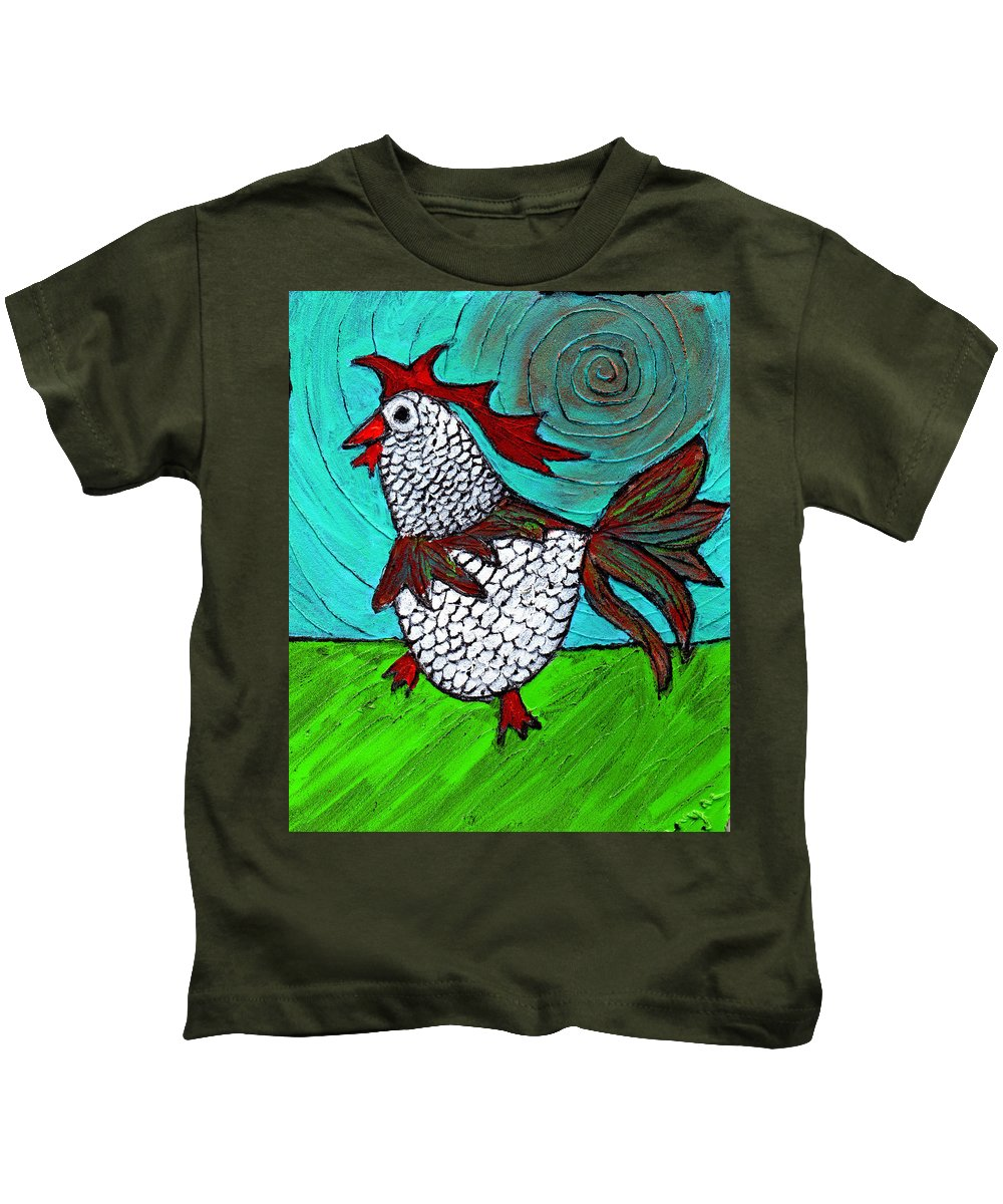 Rooster Kids T-Shirt featuring the painting Leader Of The Pack by Wayne Potrafka