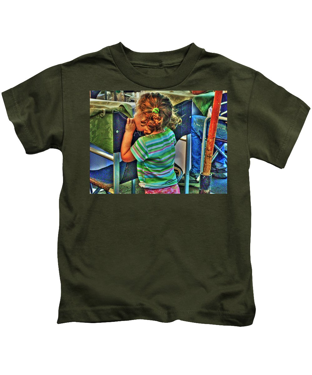 Child Kids T-Shirt featuring the photograph Learning by Francisco Colon
