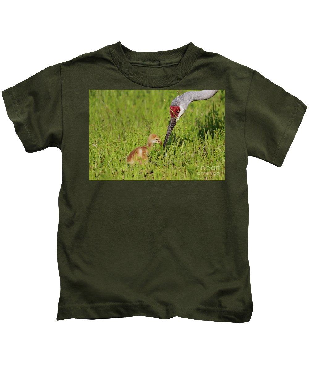 Sandhill Crane Kids T-Shirt featuring the photograph Learning To Eat by Deborah Benoit
