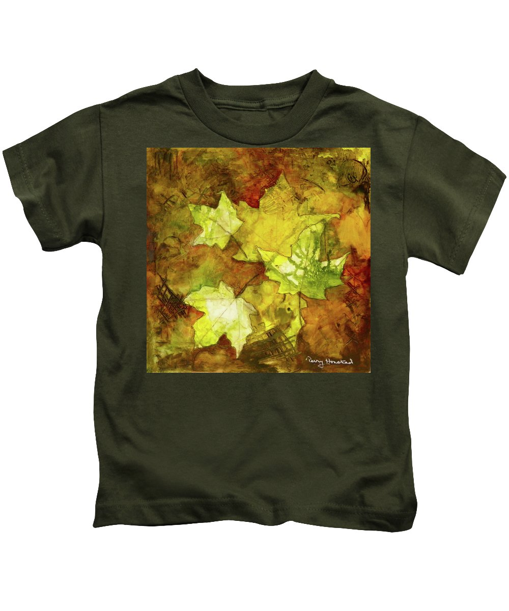 Landscape Kids T-Shirt featuring the painting Leaves by Terry Honstead