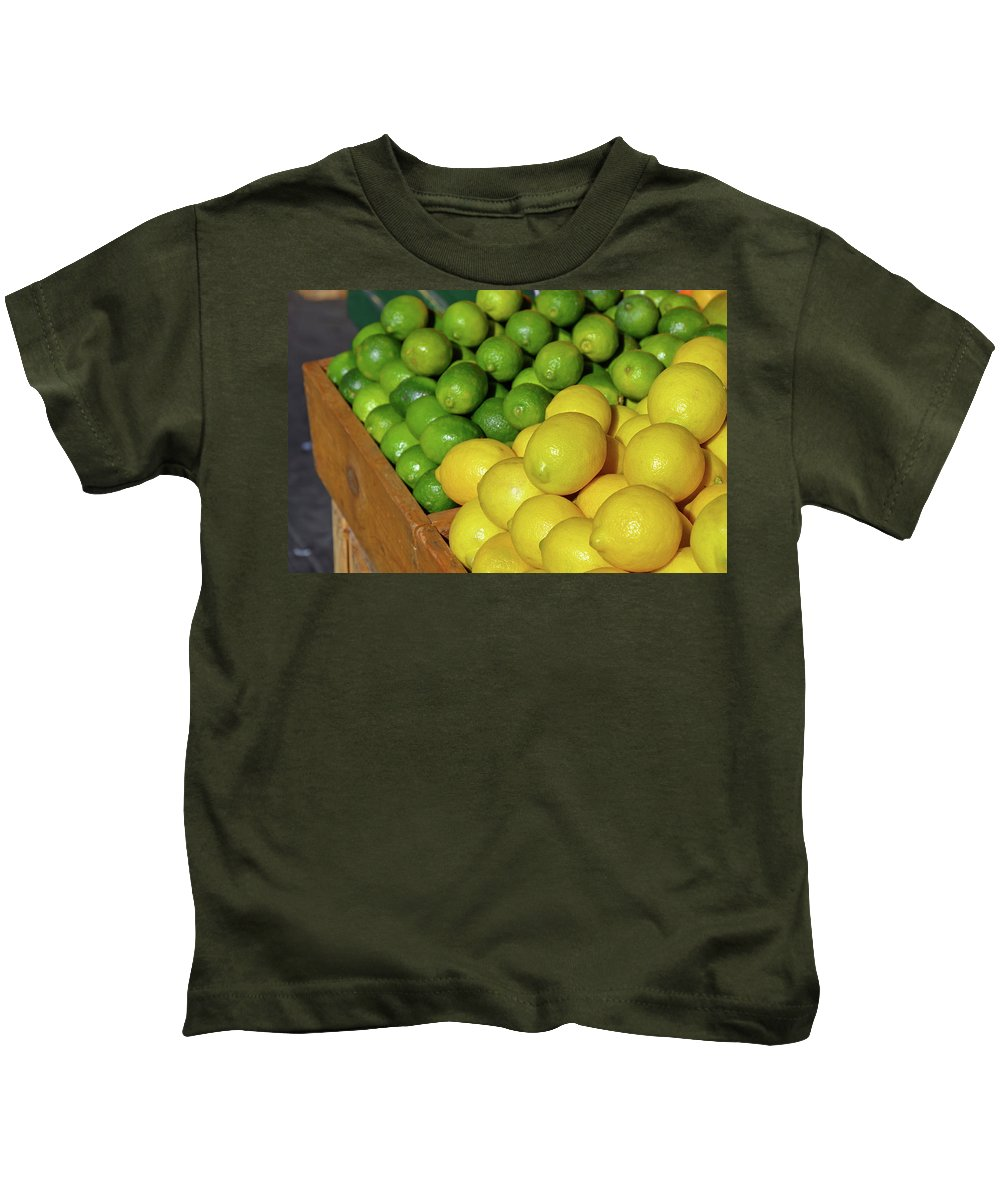 Lemon Kids T-Shirt featuring the photograph Lemons And Limes At Market by Perl Photography