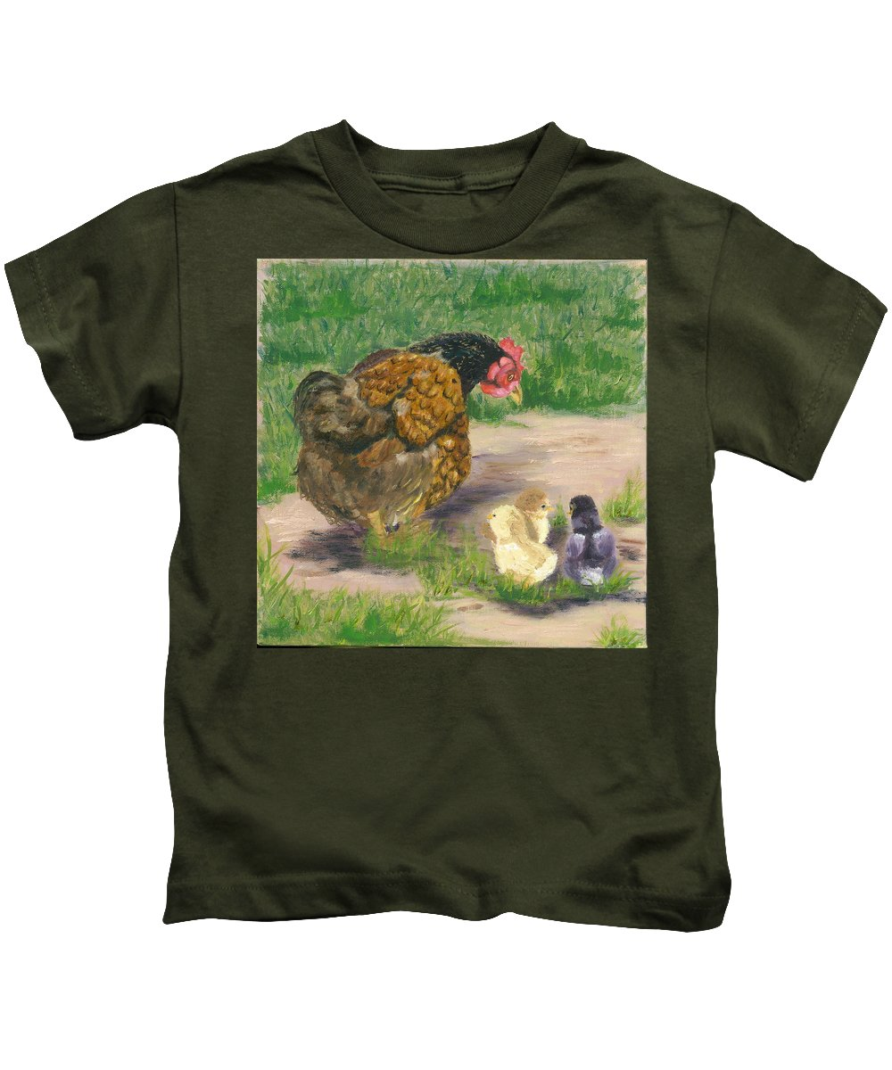 Cickens Chicks Hen Barnyard Bantams Farm Bucolic Nature Kids T-Shirt featuring the painting Lesson Time by Paula Emery