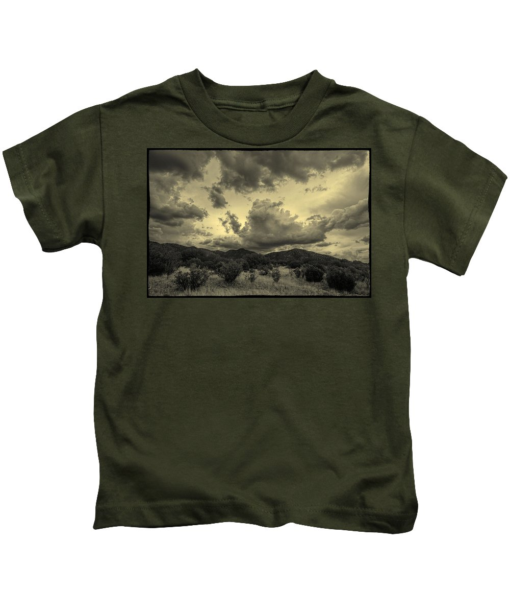 Sandia Mountains Kids T-Shirt featuring the photograph Let It Rain by Jim Buchanan