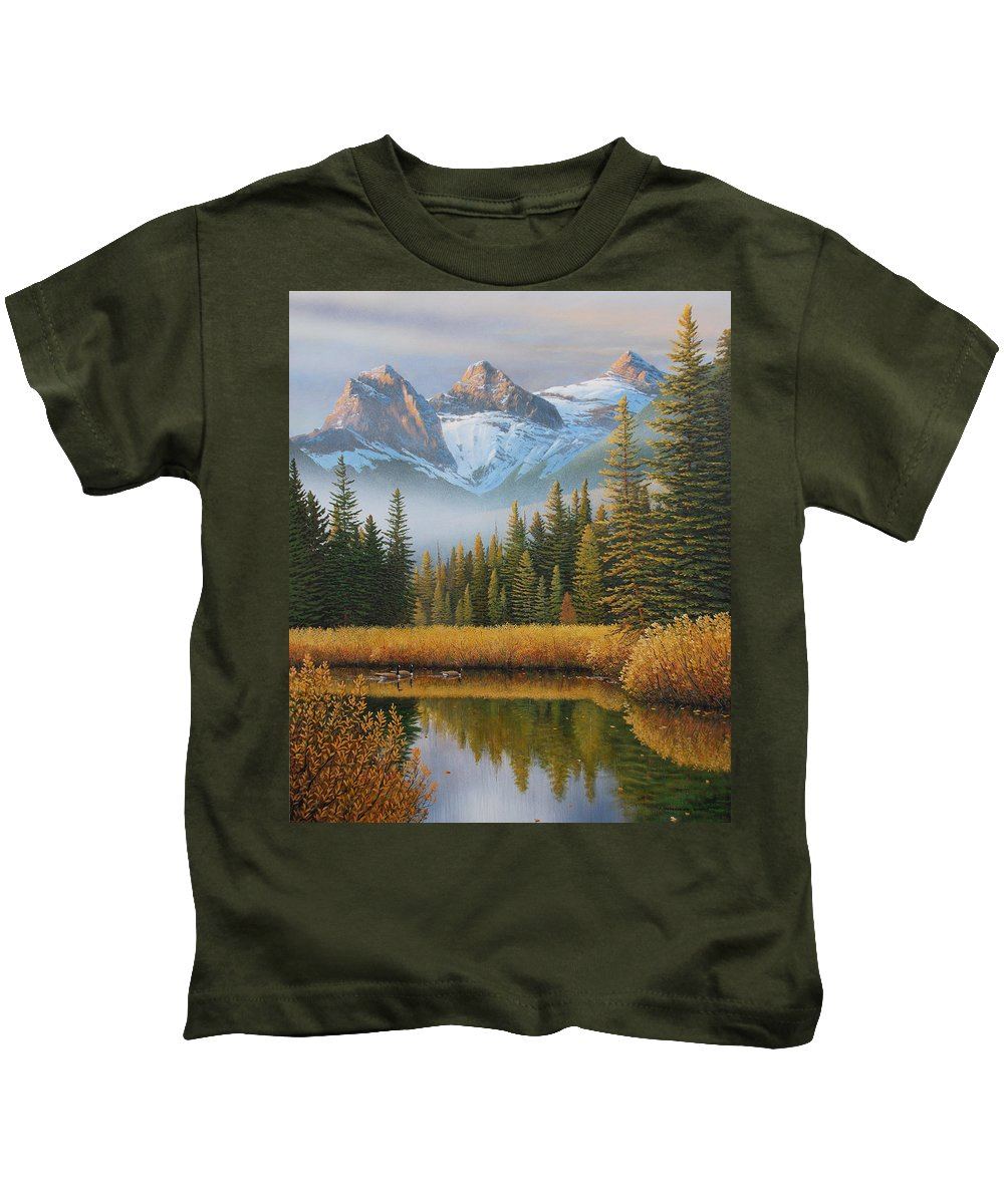 Landscape Kids T-Shirt featuring the painting Let There Be Light by Jake Vandenbrink