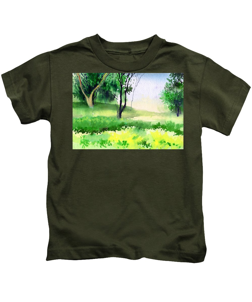 Watercolor Kids T-Shirt featuring the painting Let's Go For A Walk by Anil Nene