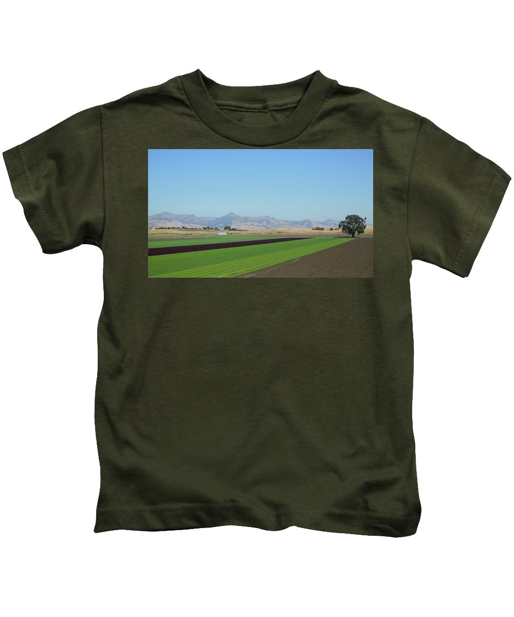 Lettuce Kids T-Shirt featuring the photograph Lettuce And Mountains With Bird by Robert Redlight