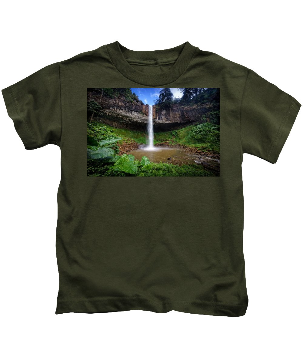 Waterfall Kids T-Shirt featuring the photograph Lieng Nung Waterfall by Pham Ty