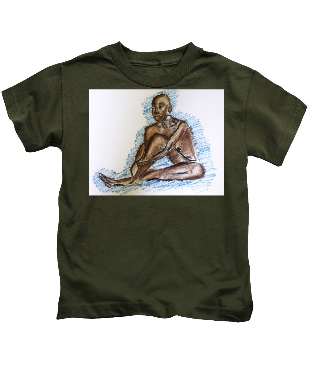 Nude Kids T-Shirt featuring the pastel Life Drawing Study by Te'Ann's Palette