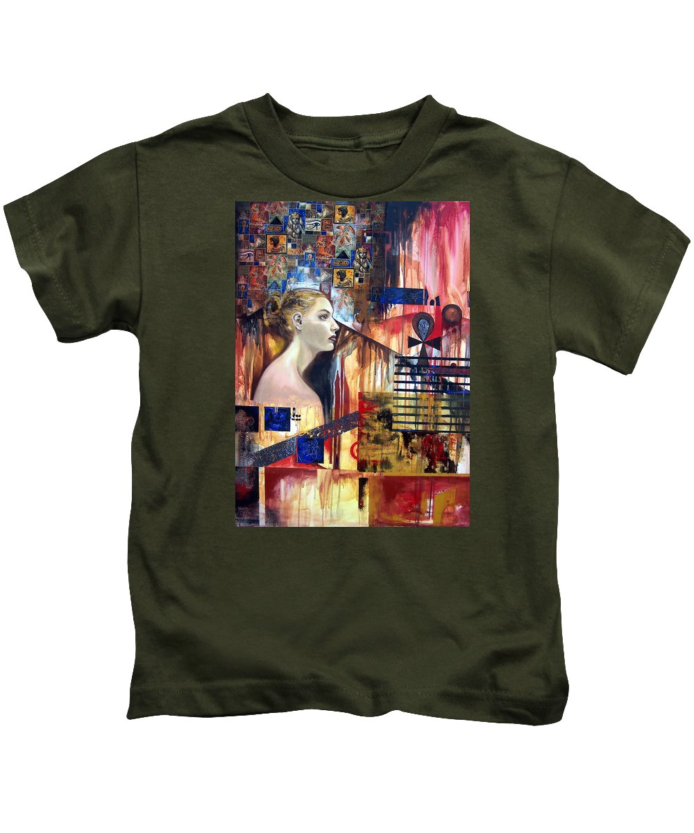 Profile Of A Woman Kids T-Shirt featuring the painting Life In The Past by Leyla Munteanu