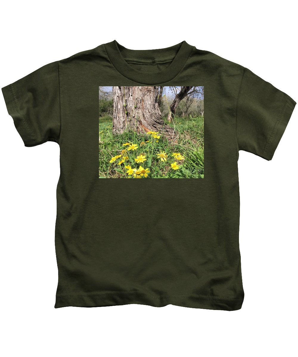 Yellow Flower Kids T-Shirt featuring the photograph Life Under A Dead Tree by Nancy Cavallin