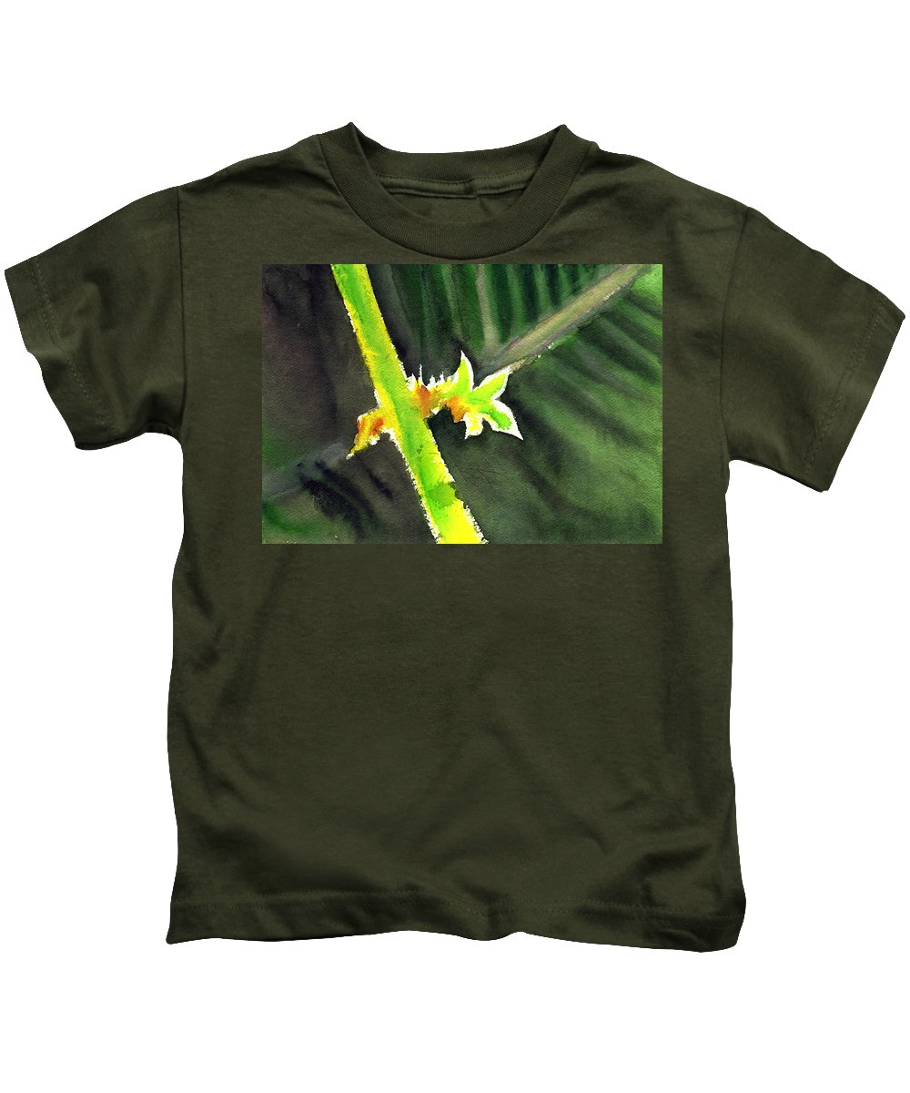Water Color Kids T-Shirt featuring the painting Light Branch by Anil Nene