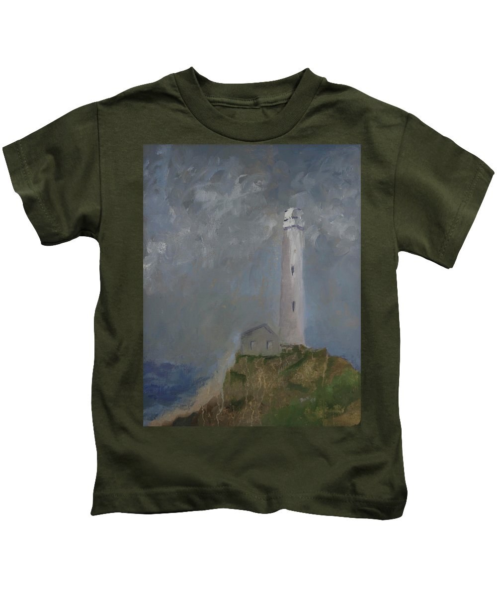 Kids T-Shirt featuring the painting Light From Above by Beatriz Flores
