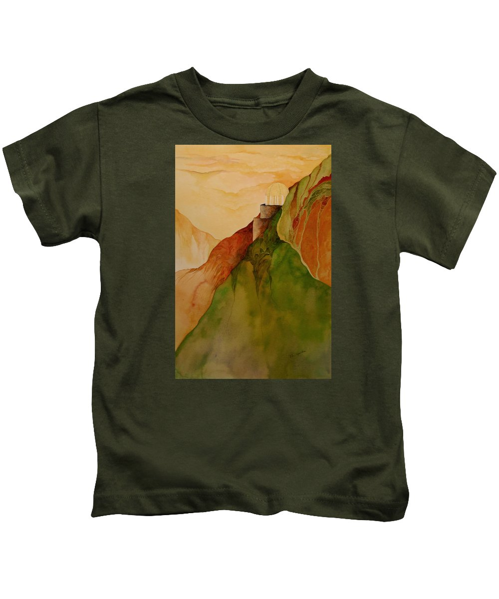 Watercolor Kids T-Shirt featuring the painting Light House by Peggy Guichu