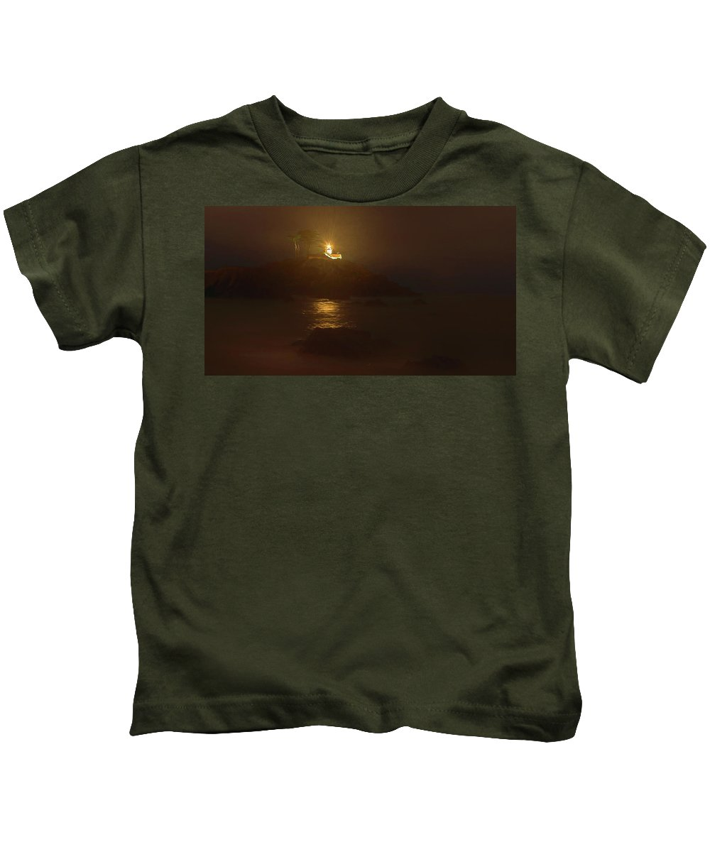 Lighthouse Kids T-Shirt featuring the painting Light In The Dark by Daniel Hodac