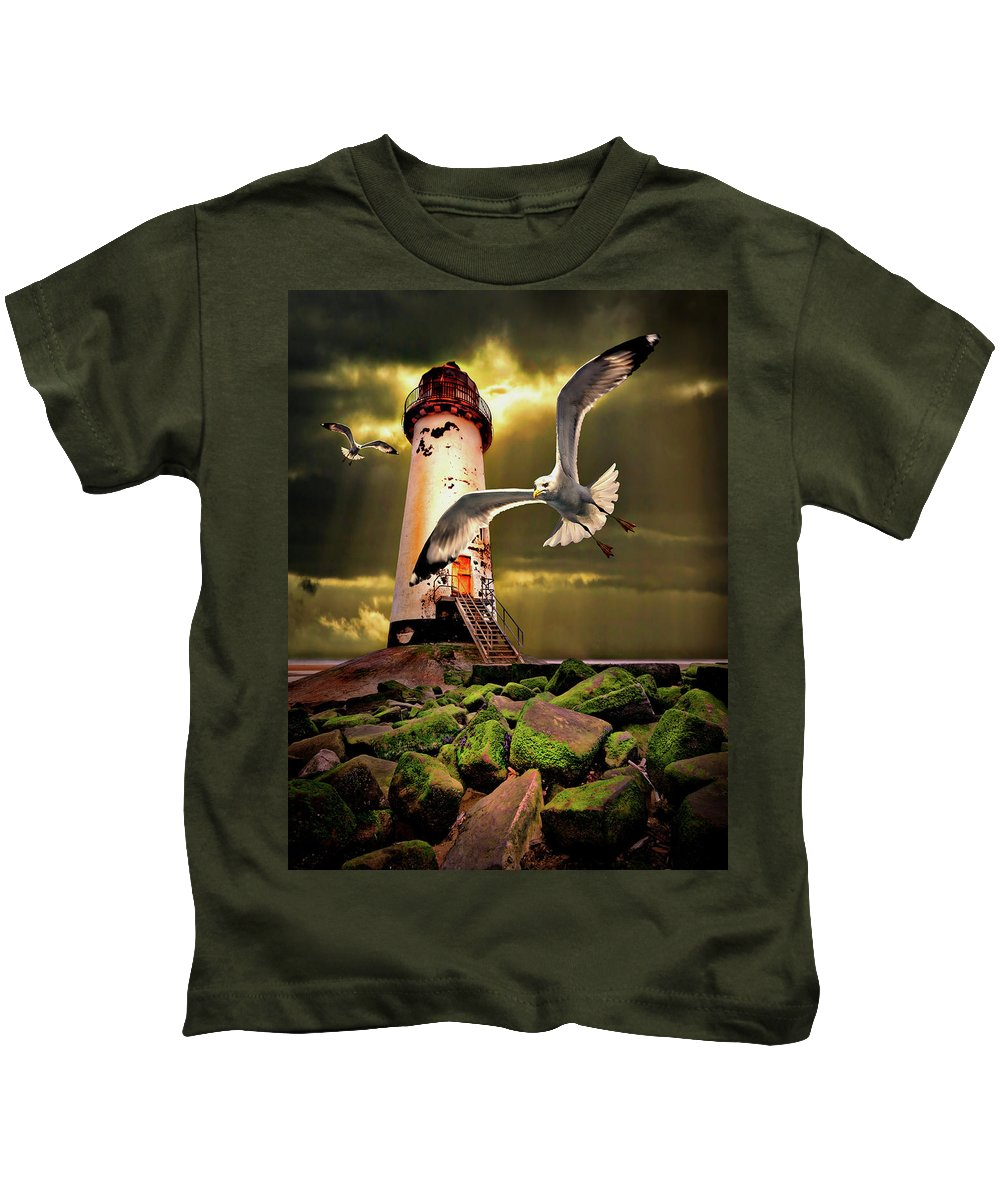 Lighthouse Kids T-Shirt featuring the photograph Lighthouse With Seagulls by Meirion Matthias